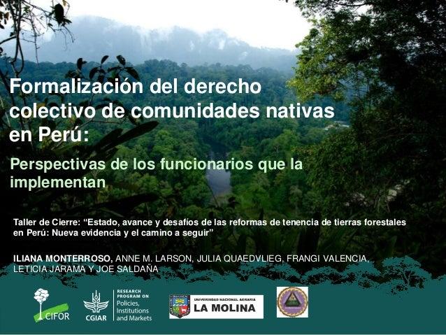 Formalización del derecho colectivo de comunidades nativas en Perú: Perspectivas de los funcionarios que la implementan IL...