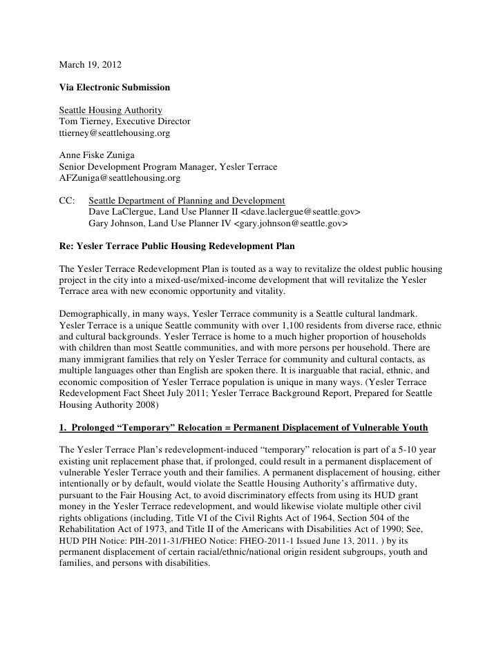 March 19, 2012Via Electronic SubmissionSeattle Housing AuthorityTom Tierney, Executive Directorttierney@seattlehousing.org...