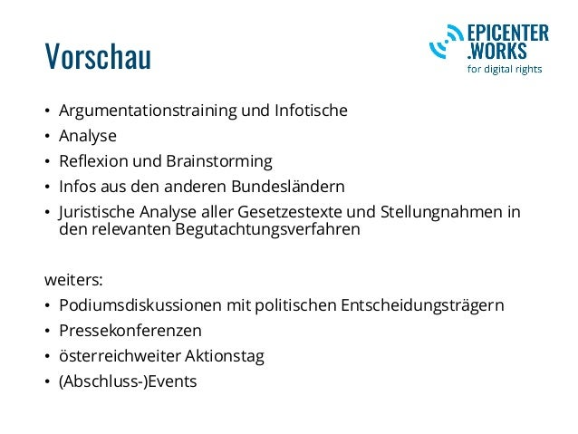 Vorschau • Argumentationstraining und Infotische • Analyse • Reflexion und Brainstorming • Infos aus den anderen Bundeslän...