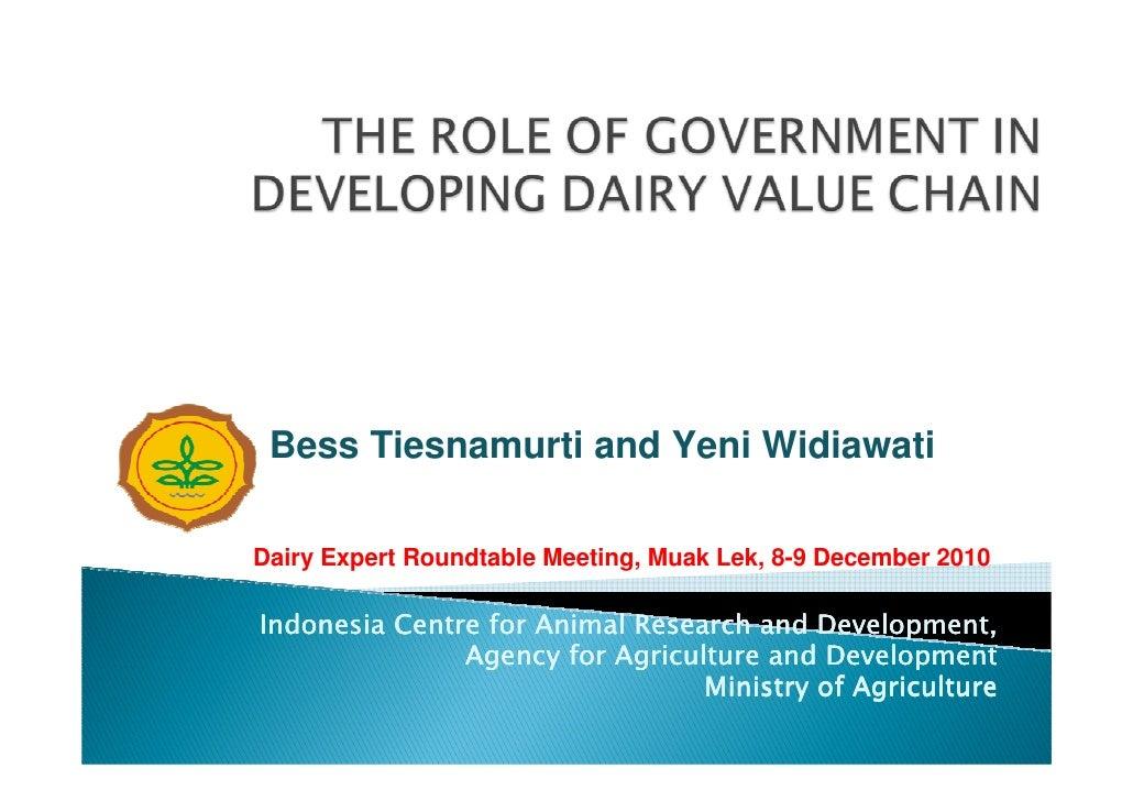 Bess Tiesnamurti and Yeni WidiawatiDairy Expert Roundtable Meeting, Muak Lek, 8-9 December 2010Indonesia Centre for Animal...