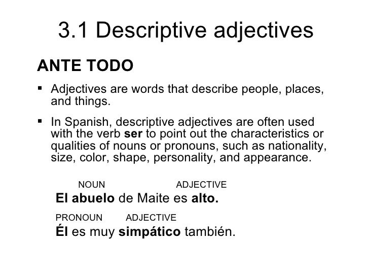 3.1 Descriptive Adjectives