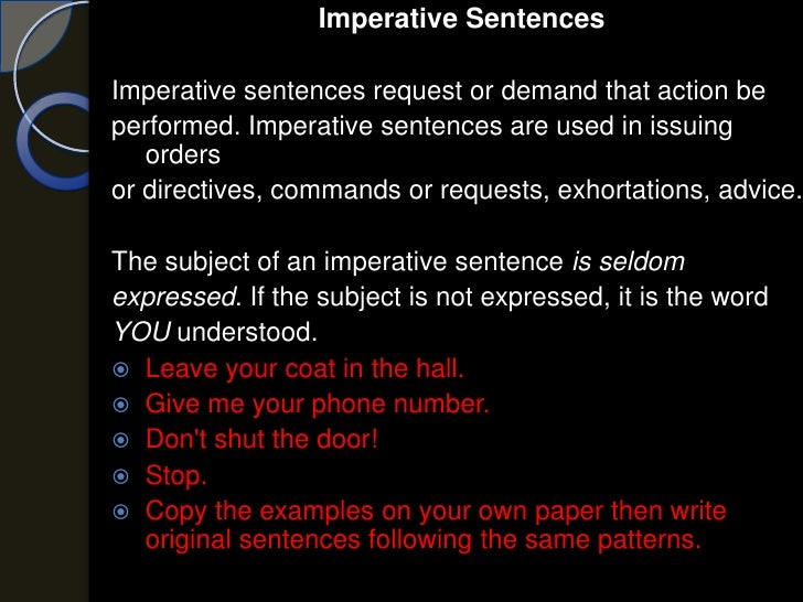 what is the definition of imperative sentence