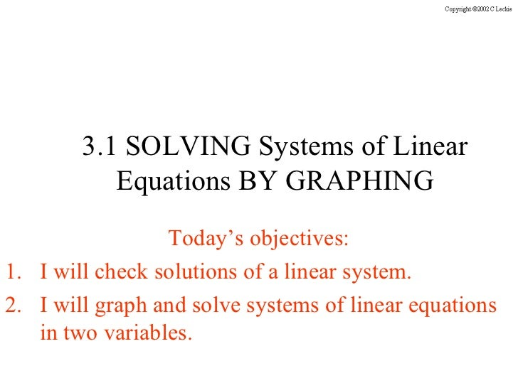 3 1 solving systems graphically