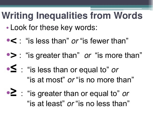 writing an inequality The goal of this task is to express constraints from a real world context using one  or more inequalities in addition to writing inequalities, students also display the.