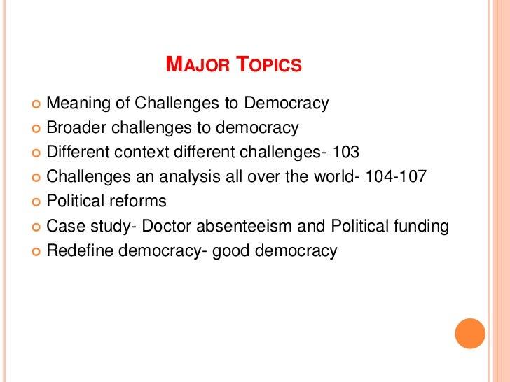 essay on challenges of democracy
