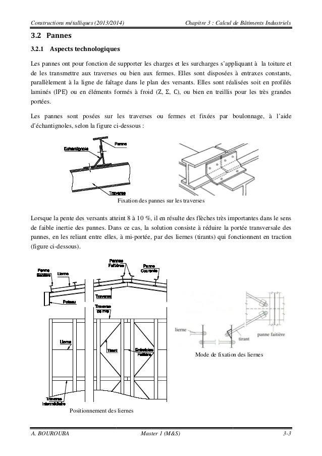 Constructions métalliques (2013/2014) Chapitre 3 A. BOUROUBA Master 1 (M&S) 3.2 Pannes 3.2.1 Aspects technologiques Les pa...
