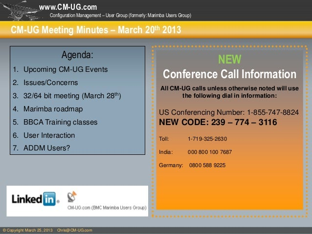 www.CM-UG.com                        Configuration Management – User Group (formerly: Marimba Users Group)    CM-UG Meetin...