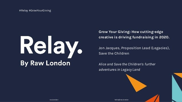 Grow Your Giving: How cutting-edge creative is driving fundraising in 2020. Jon Jacques, Proposition Lead (Legacies), Save...