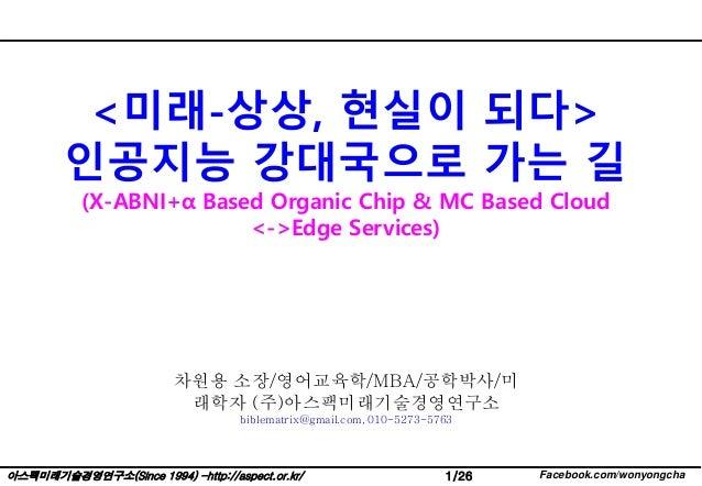 1/26 Facebook.com/wonyongcha아스팩미래기술경영연구소(Since 1994) -http://aspect.or.kr/ <미래-상상, 현실이 되다> 인공지능 강대국으로 가는 길 (X-ABNI+α Based...