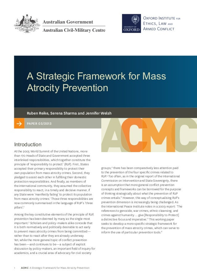 A Strategic Framework for Mass Atrocity Prevention Ruben Reike, Serena Sharma and Jennifer Welsh  >  PAPER /  Introd...