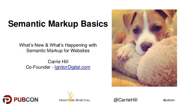 #pubcon@CarrieHill Semantic Markup Basics What's New & What's Happening with Semantic Markup for Websites Carrie Hill Co-F...