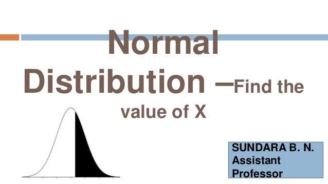 Normal Distribution –Find the value of X SUNDARA B. N. Assistant Professor