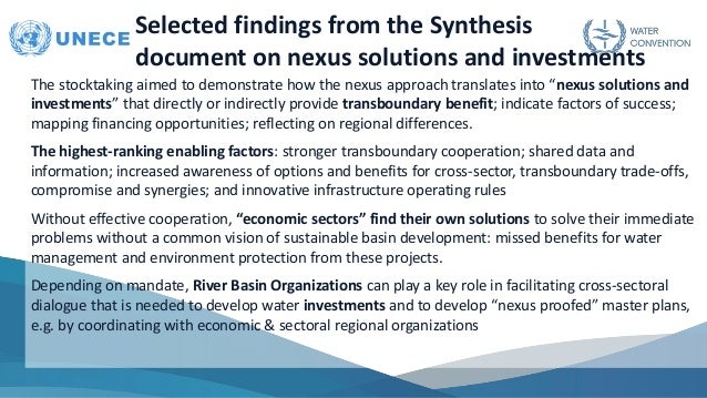 Selected findings from the Synthesis document on nexus solutions and investments The stocktaking aimed to demonstrate how ...