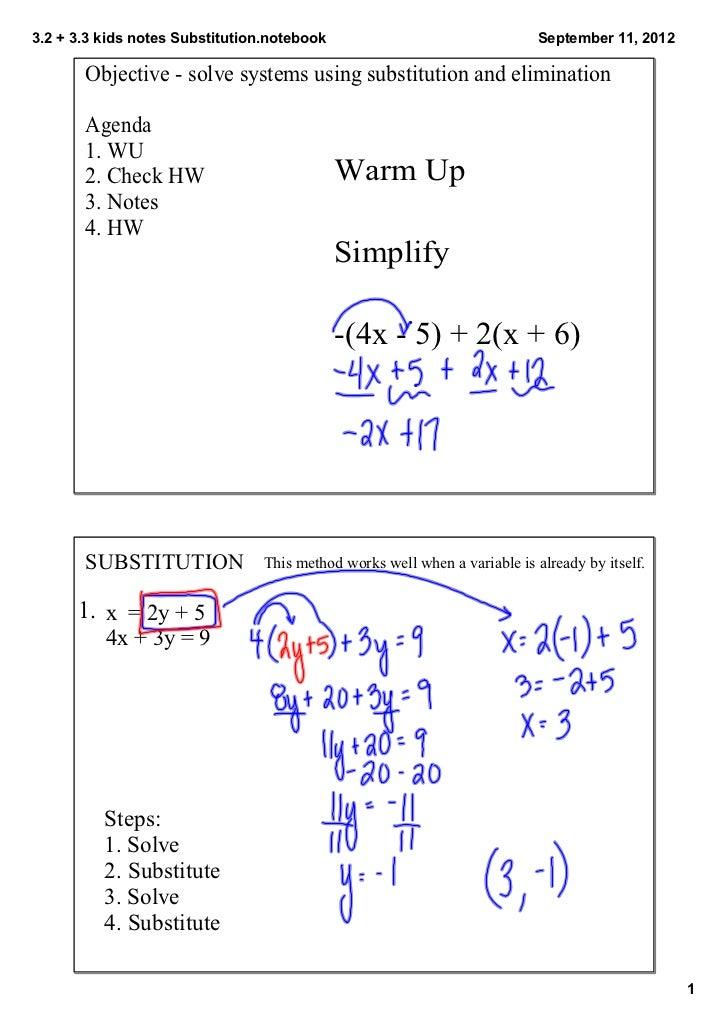 3.2+3.3kidsnotesSubstitution.notebook                                  September11,2012       Objectivesolvesys...