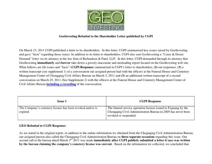 GeoInvesting Rebuttal to the Shareholder Letter published by CGPIOn March 15, 2011 CGPI published a letter to its sharehol...