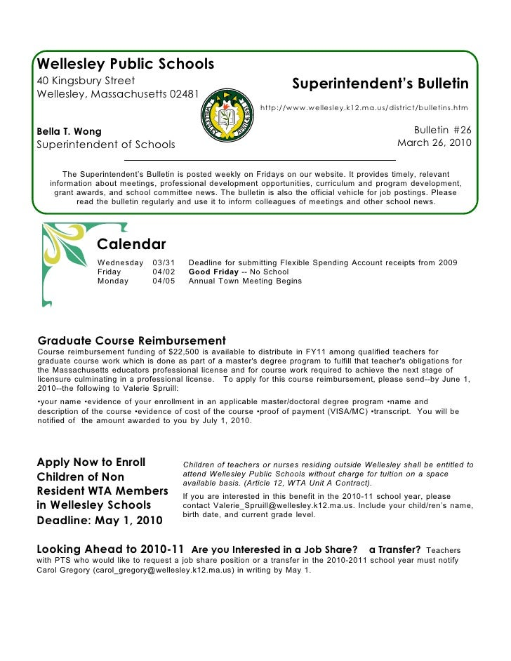 Wellesley Public Schools 40 Kingsbury Street                                                Superintendent's Bulletin Well...
