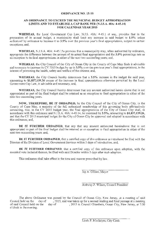 ORDINANCE NO.  15-10  AN ORDINANCE TO EXCEED THE MUNICIPAL BUDGET APPROPRIATION LIMITS AND TO ESTABLISH A CAP BANK PER (N ...
