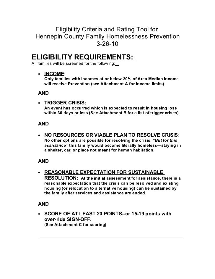 Eligibility Criteria and Rating Tool for  Hennepin County Family Homelessness Prevention                         3-26-10EL...