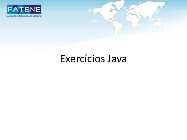 Exercícios Java