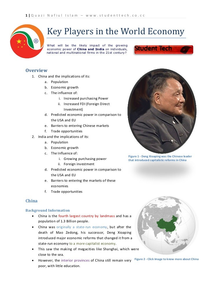 Key Players in the World Economy1|Quazi Nafiul Islam – www.studenttech.co.cc             What will be the likely impact of...