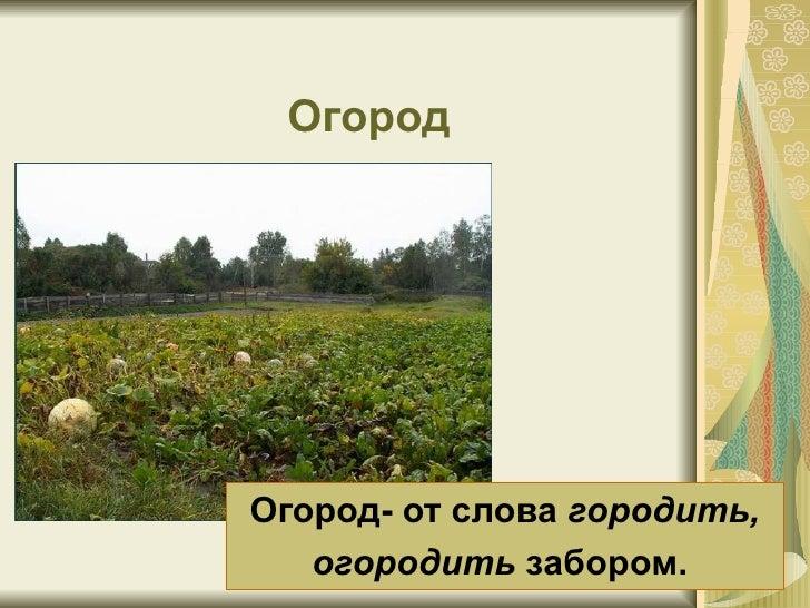 Огород Огород- от слова  городить, огородить  забором.