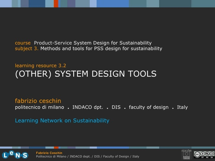fabrizio ceschin politecnico di milano  .  INDACO dpt.  .   DIS  .  faculty of design  .   Italy Learning Network on Susta...