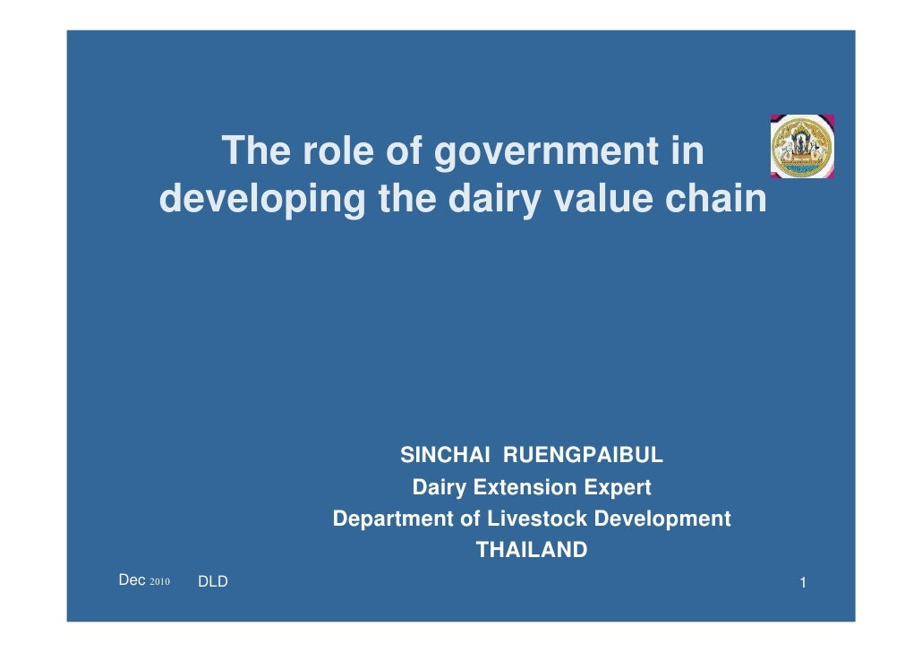 The role of government in      developing the dairy value chain                       SINCHAI RUENGPAIBUL                 ...