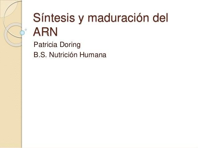 Síntesis y maduración del ARN Patricia Doring B.S. Nutrición Humana