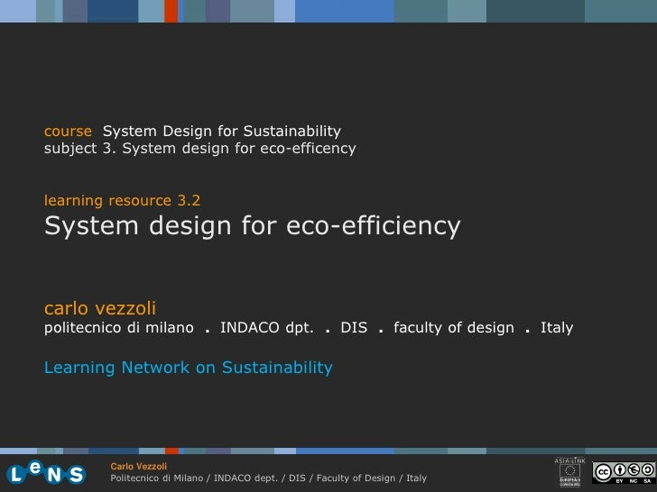 course System Design for Sustainability subject 3. System design for eco-efficency   learning resource 3.2 System design f...