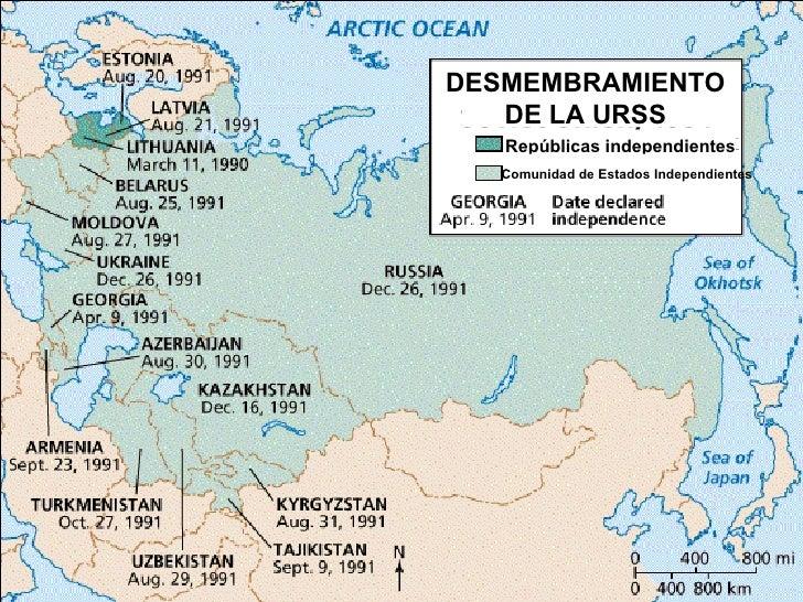 DESMEMBRAMIENTO   DE LA URSS   Repúblicas independientes  Comunidad de Estados Independientes