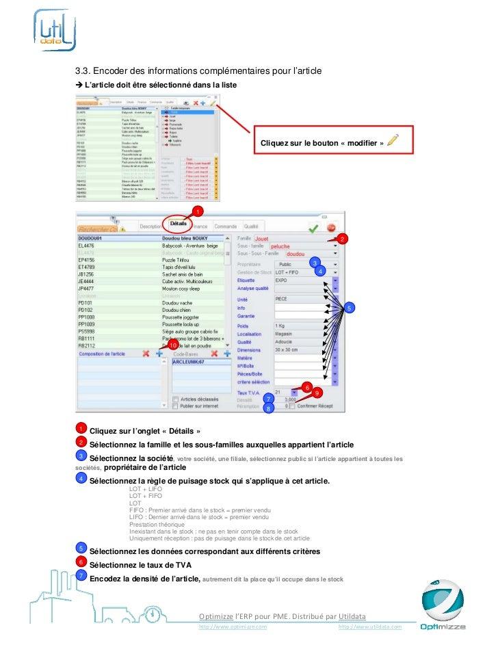 3.3. Encoder des informations complémentaires pour l'article L'article doit être sélectionné dans la liste             ...