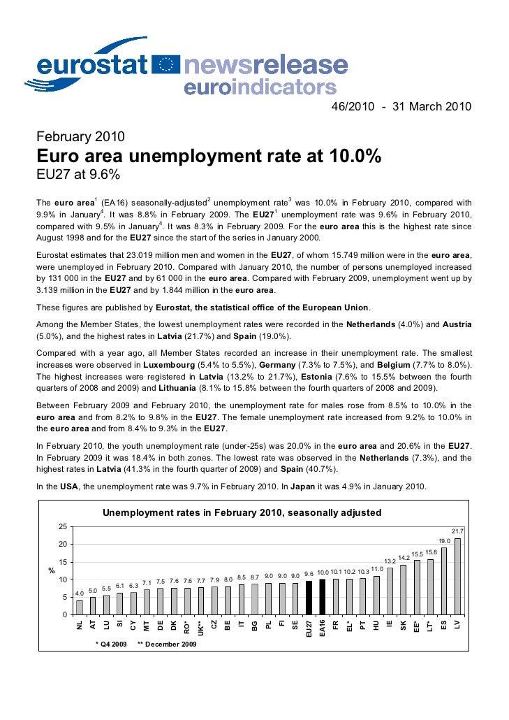 46/2010 - 31 March 2010February 2010Euro area unemployment rate at 10.0%EU27 at 9.6%The euro area1 (EA16) seasonally-adjus...