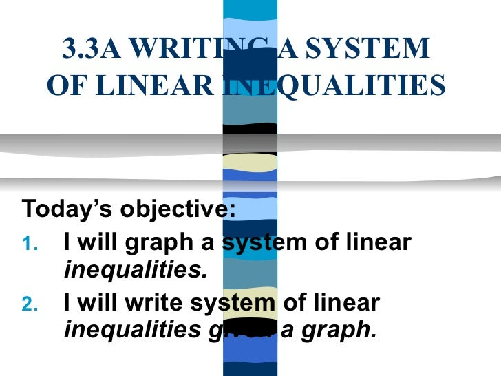 3.3A WRITING A SYSTEM  OF LINEAR INEQUALITIESToday's objective:1. I will graph a system of linear   inequalities.2. I will...