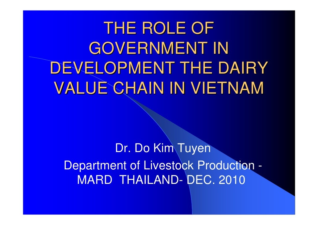 THE ROLE OF   GOVERNMENT INDEVELOPMENT THE DAIRYVALUE CHAIN IN VIETNAM         Dr. Do Kim Tuyen Department of Livestock Pr...