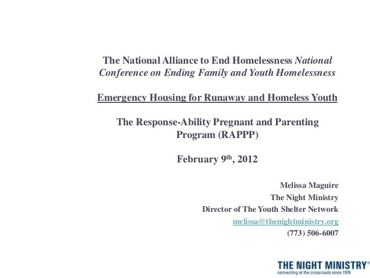The National Alliance to End Homelessness NationalConference on Ending Family and Youth HomelessnessEmergency Housing for ...