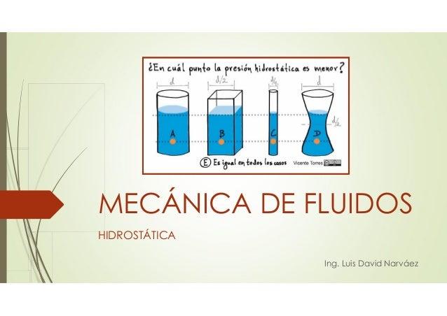 MECÁNICA DE FLUIDOS Ing. Luis David Narváez HIDROSTÁTICA