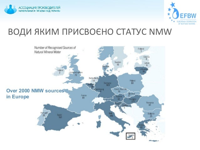 Over 2000 NMW sources in Europe ВОДИ ЯКИМ ПРИСВОЄНО СТАТУС NMW