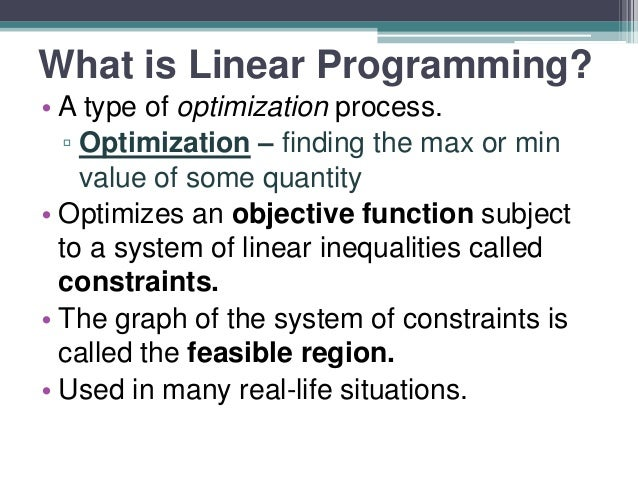 Linear programming applied to healthcare problems