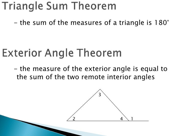 Techmathi 3 4 the triangle sum theorem - Measure of exterior angles of a triangle ...