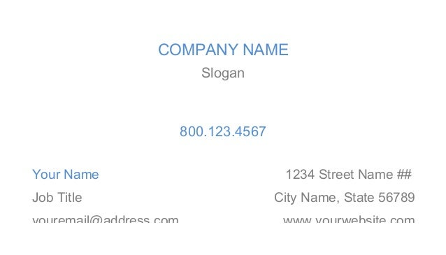 3.5 x 2 Horizontal Business Card Template in MS Word (Style 1)