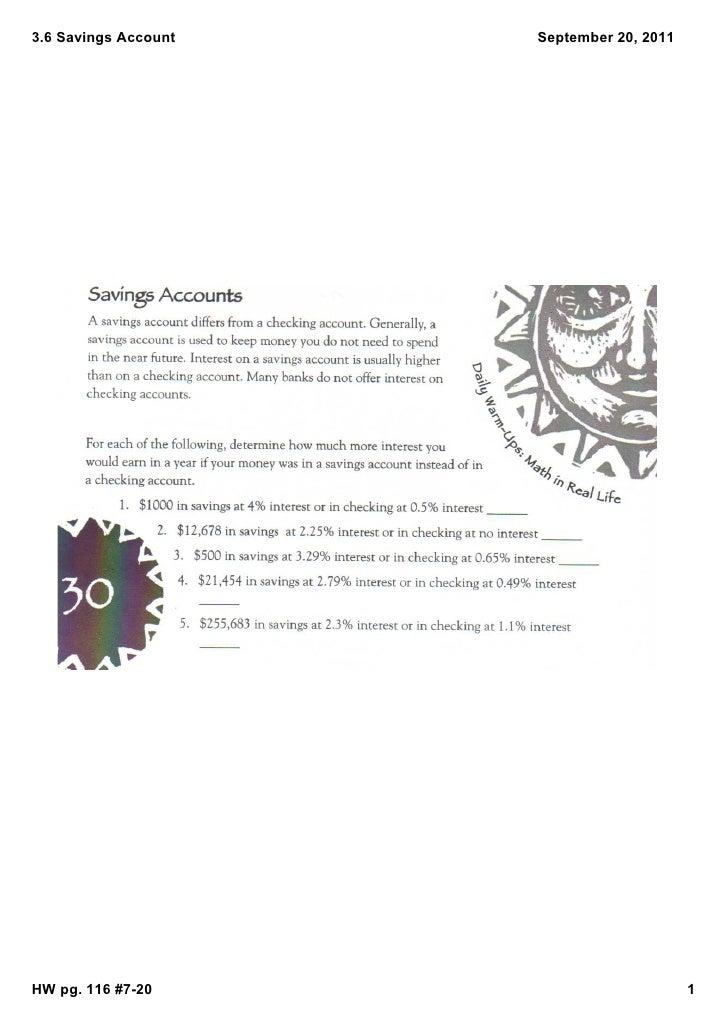 3.6SavingsAccount   September20,2011HWpg.116#720                           1