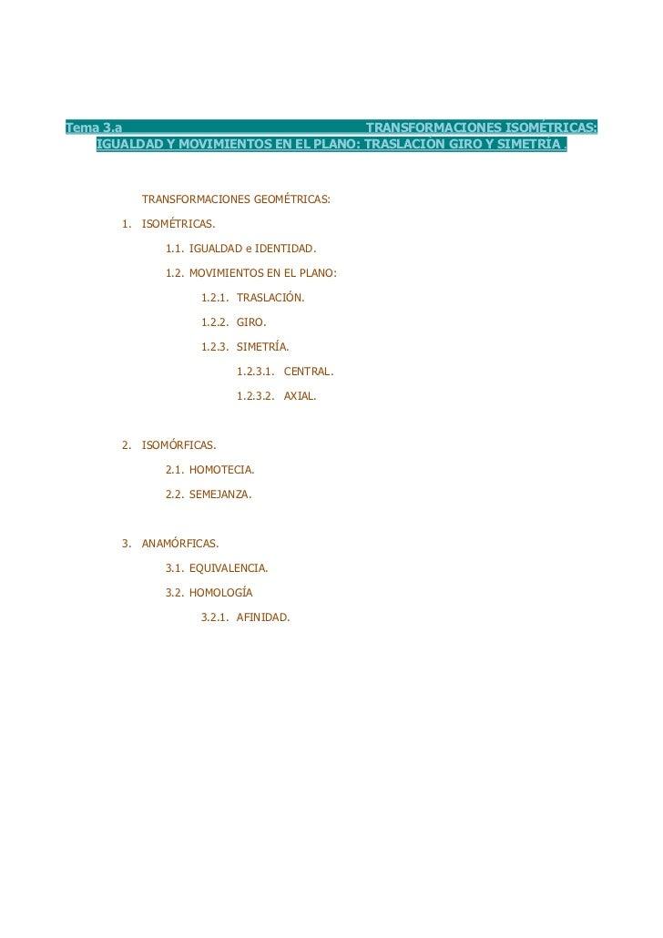 Tema 3.a                                TRANSFORMACIONES ISOMÉTRICAS:    IGUALDAD Y MOVIMIENTOS EN EL PLANO: TRASLACIÓN GI...