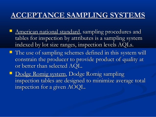explain acceptance sampling