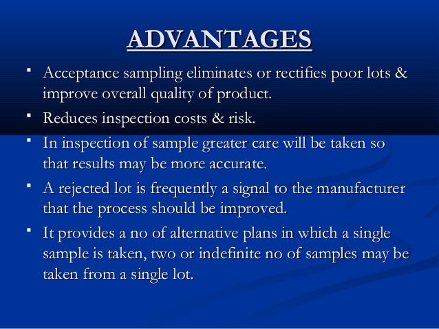 importance of acceptance sampling
