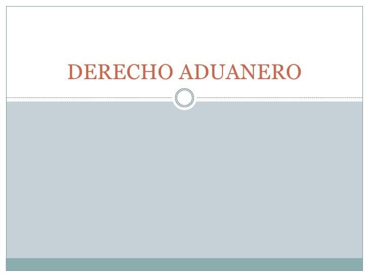 DERECHO ADUANERO<br />