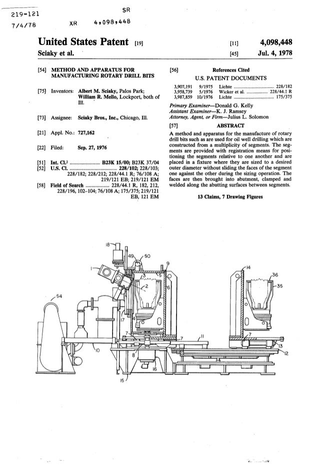 219-121 1;4rre XR SR 4t098t448 United States Patent [t9l Sciaky et al. [54] METHOD AND APPARATUS FOR MANUFACI'URING ROTARY...