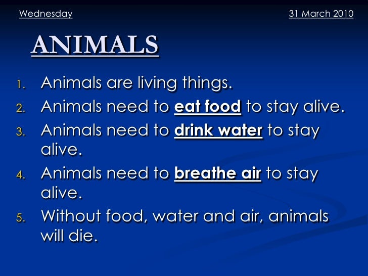 Wednesday                           31 March 2010     ANIMALS1.   Animals are living things.2.   Animals need to eat food ...