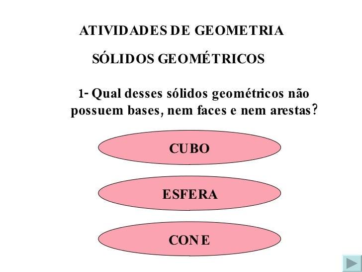 ATIVIDADES DE GEOMETRIA SÓLIDOS GEOMÉTRICOS 1- Qual desses sólidos geométricos não possuem bases, nem faces e nem arestas?...