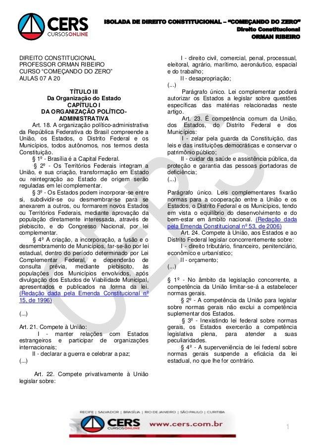 """ISOLADA DE DIREITO CONSTITUCIONAL – """"COMEÇANDO DO ZERO""""                                                                   ..."""