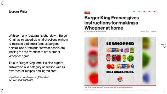 13 With so many restaurants shut down, Burger King has released pictorial directions on how to recreate their most famous ...
